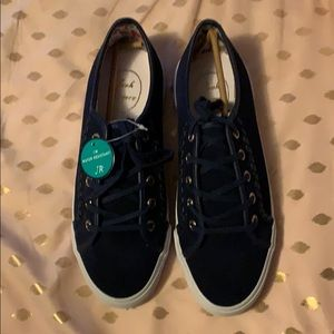 Jack Rogers Carter Suede Navy Sneakers Size 9